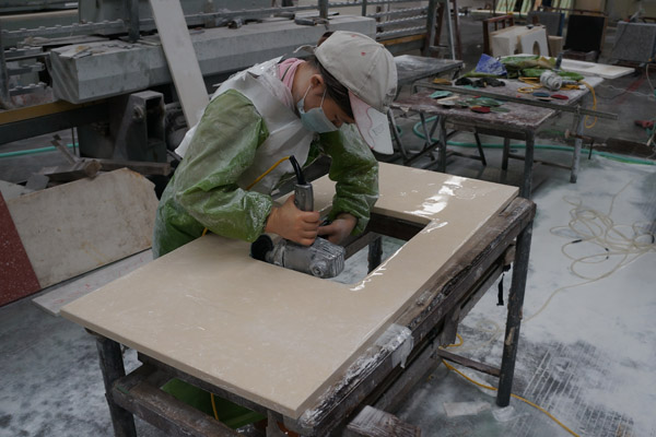 Engineered marble top cutting